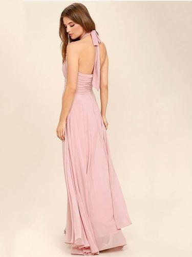 Halterneck Waisted Backless Ruffled Evening Dress