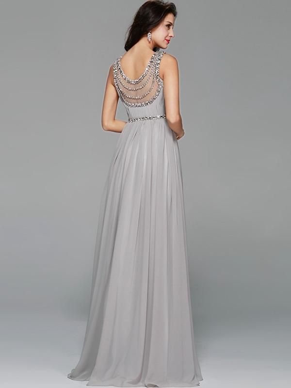 Sequined Solid Color O-Neck Sleeveless Backless Evening Dresses