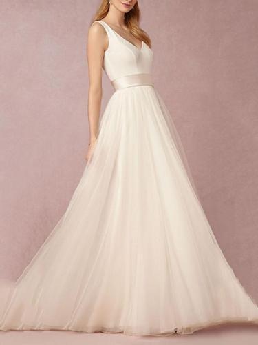 Classical White V-Neck Sleeveless Maxi Dress Evening Dress