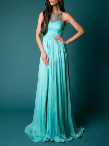 Backless Split-joint Floor Evening Dress