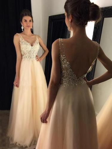 Elegant V-neck Split-joint Evening Dress