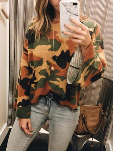 Round Neck Camouflage Printed Long Flare Sleeve Knitting Sweaters