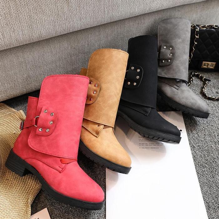 Women Stylish Pleated Design Plus Size Martin Boots