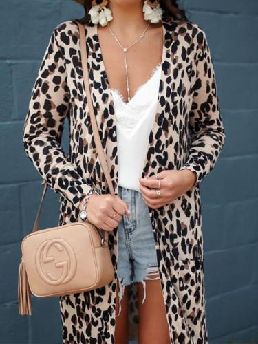 Sexy leopard printed pocket long sleeve coat cardigans for women