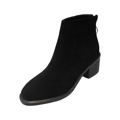 Fashion Chunky Med Heel  Suede leather Boots