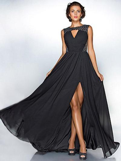 Fashion Black Sleeveles Maxi Dress Evening Dress