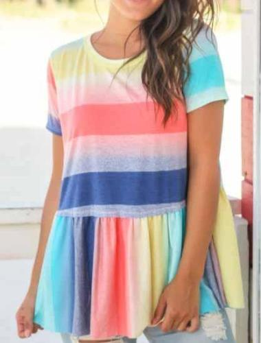 Fashion Round Collar Split Joint Rainbow Blouse