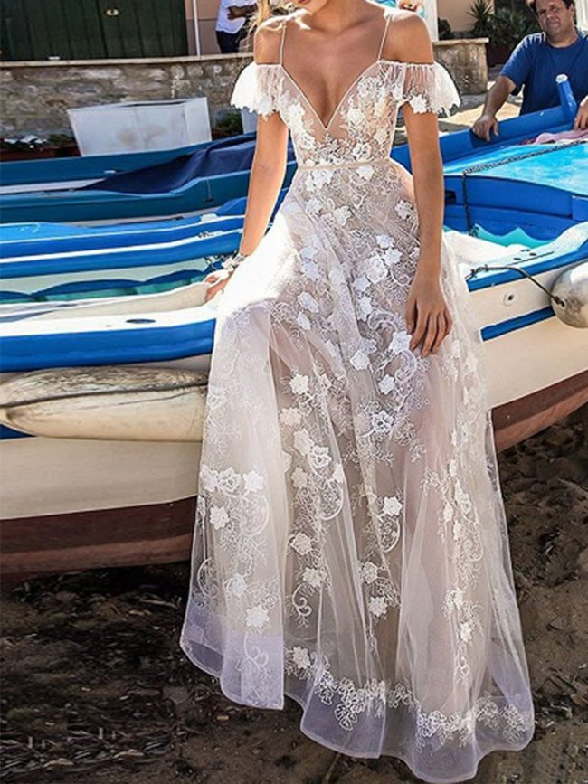 White Plunge Embroidery Flower Chic Women Sheer Mesh Cami Evening Dress