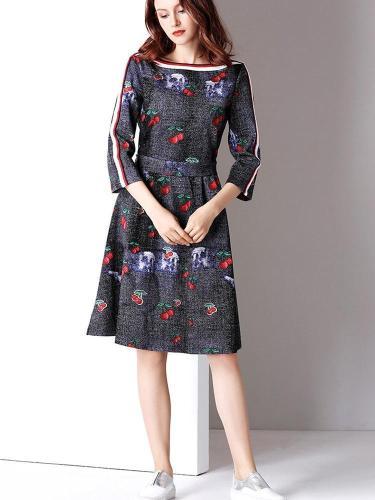 New Women Cherry Floral Off shoulder Lace Skater Dresses