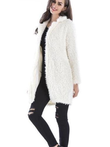 Women New Plush Lapel Coats