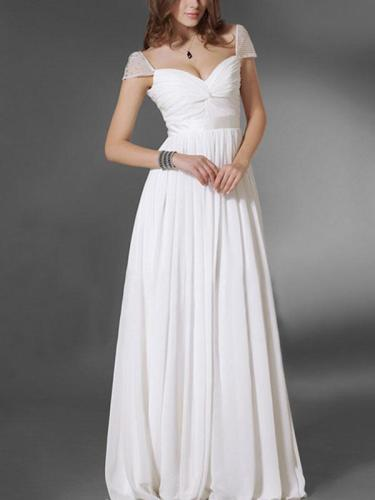 Elegant White Cap Sleeve Maxi Dress Evening Dress