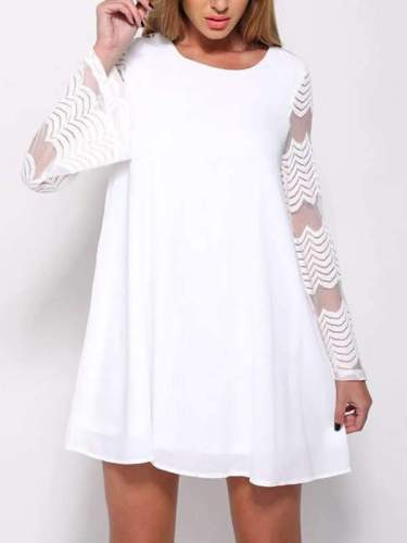 Round Neck Lace Patchwork Flare Sleeve Mini Dress