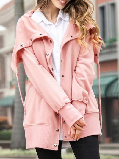 Casual big lapel women plain zipper coats