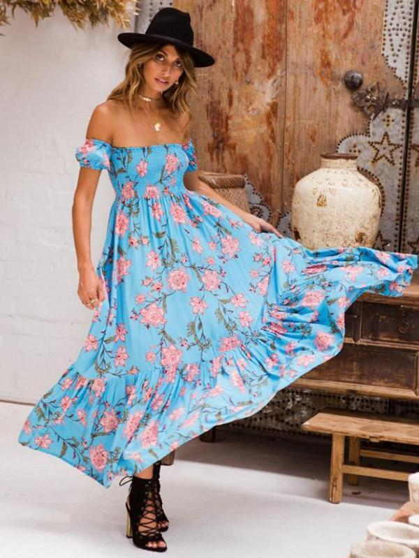 Floral Off-the shoulder Maxi Dresses