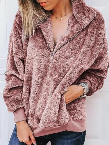 Solid color zipper warm coat sweatshirts