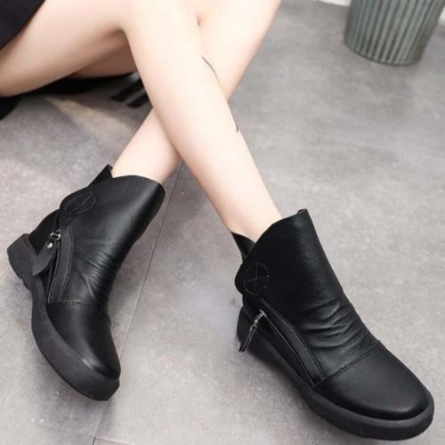 Women Side Zipper Vintage Casual Boots