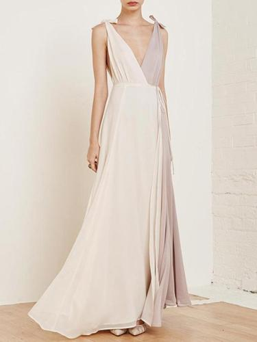 Chiffon Asymmetric Split-joint Deep V-neck Maxi Dress