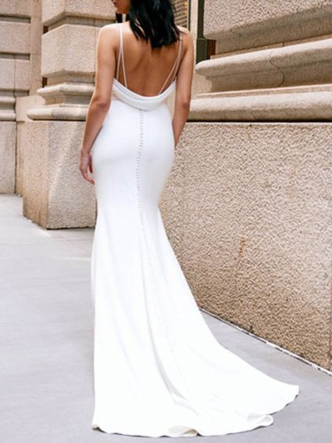 White Braces Sleeveless Sexy Chic Long Dress Woman Bridesmaid Dress Evening Dress