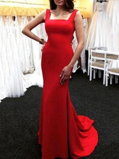 Red Slim Fit Mermaid Floor Evening Dress