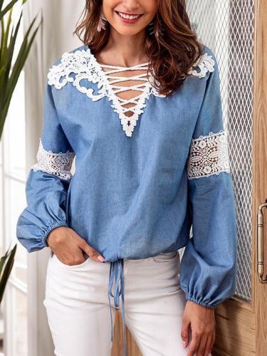 Lace Up Stylish Long Sleeve Plain T-Shirt Blouse