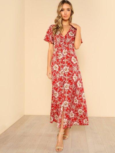 Button Up Shirred Waist Floral Maxi Dress