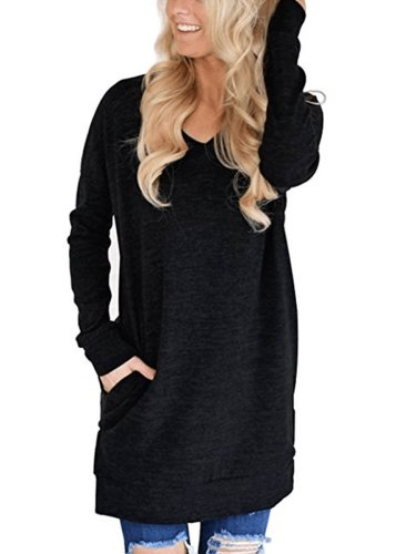 V-Neck Plain  Long Sleeve  T-Shirt