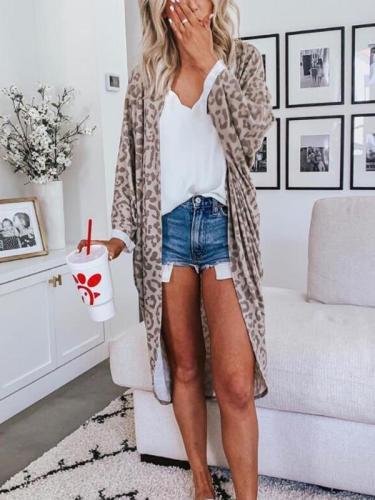 Loose casual leopard printed cardigan coats