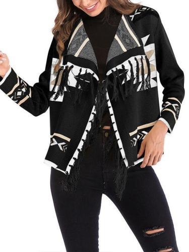 Bohemian Printed Long Sleeve Tassels Casual Cardigans