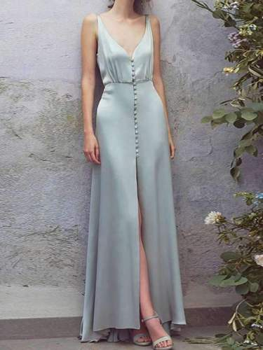 Sexy Deep V Collar Button Slit Maxi Dress
