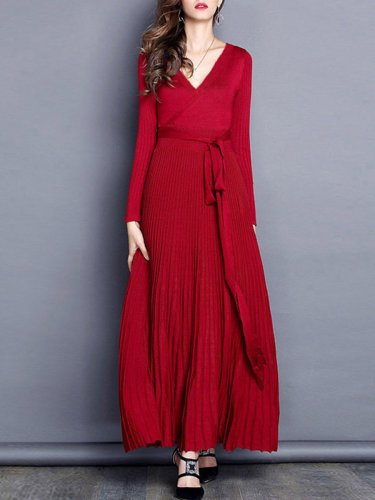 More colors Pure V Neck Long Sleeve Woman Elegant Maxi Dresses