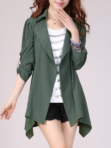 Lapel Asymmetric Hem Plain Roll-Up Sleeve Trench Coat