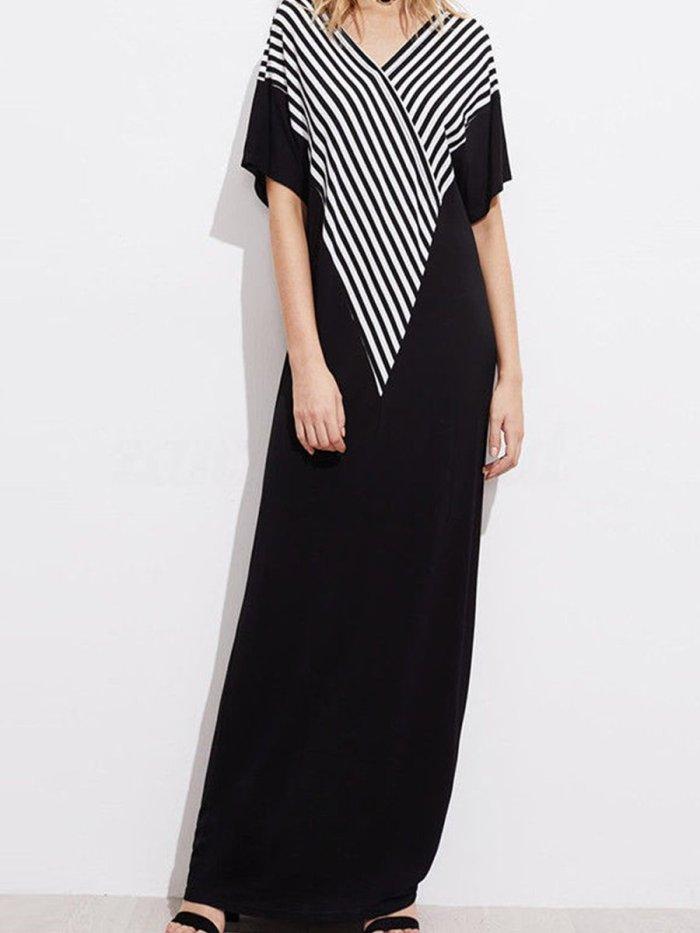 V Neck  Striped Maxi Dress