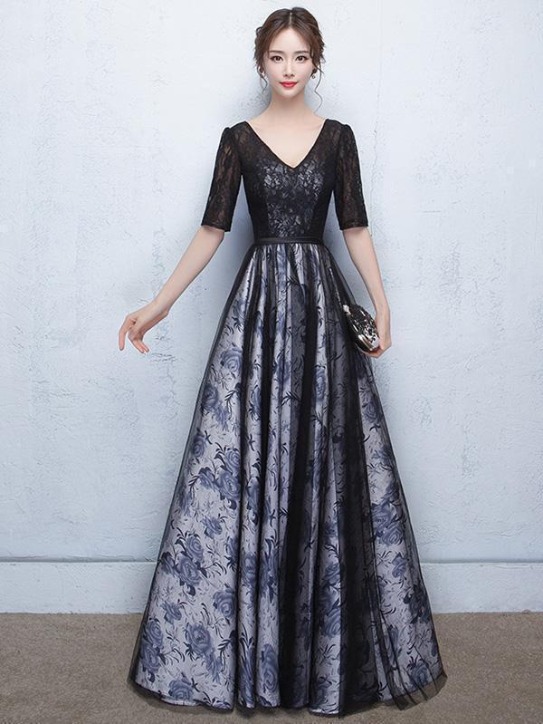Split-joint V-neck Waisted Evening Dress