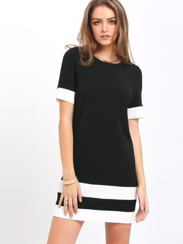 Color Block Stripe Short Sleeve Shift Dress