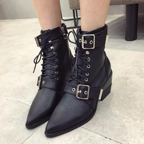 New Fashion Buckle Chunky Heel  Matin Boots