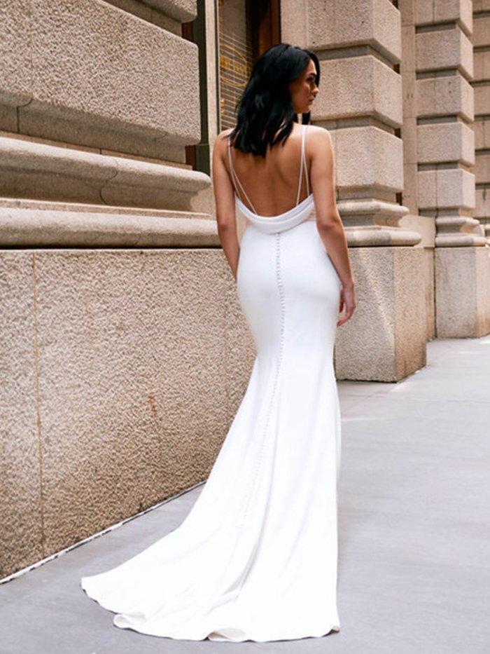 White Braces Sleeveless Sexy Chic Long Dress Woman Bridesmaid Dress Evening Dress