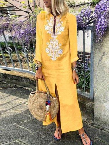 Four Colors Cotton Linen Long Sleeve Solid Loose V Neck Boho Long Dress Casual Dress Maxi Dress For Woman