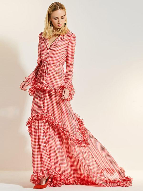 Plaid Lacy V-neck Floor Evening Dress