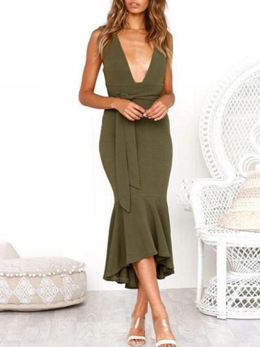 Solid Color Deep V-Neck Midi Dresses