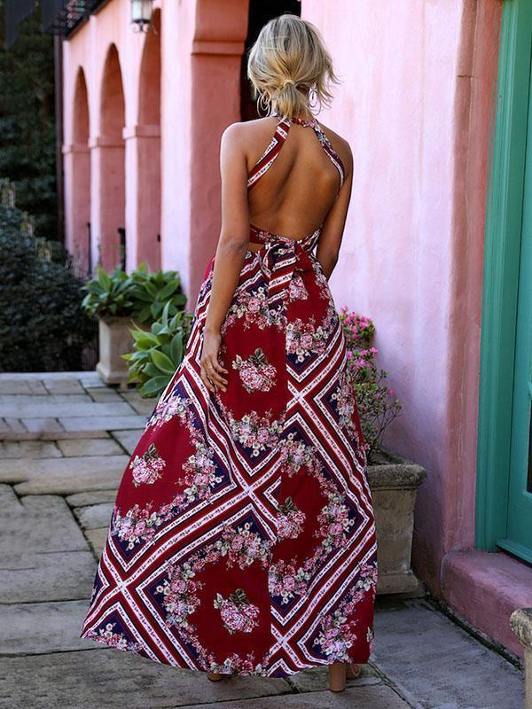 Asymmetric Backless Halterneck Bohemia Dress