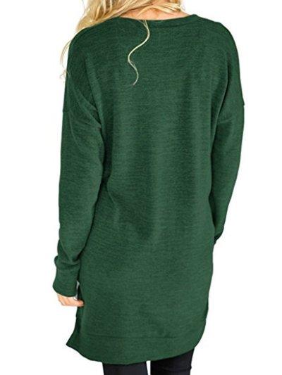 V-Neck Plain  Long Sleeve  T-Shirt