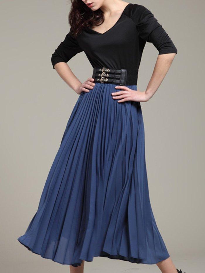 V-Neck  Patchwork Ruffled Hem  Belt  Color Block Plain Skater Dress