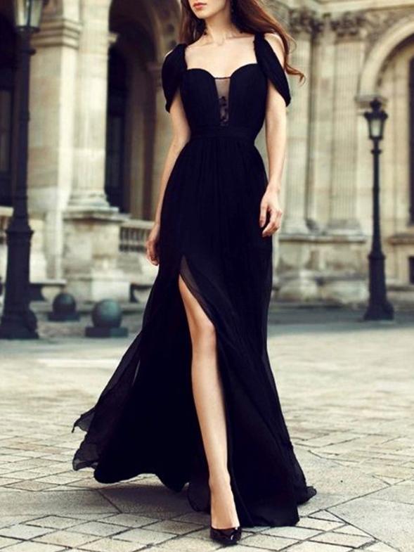 Chiffon Waisted Split-side Evening Dress