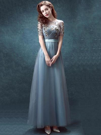 Veil Backless Split-side Evening Dress