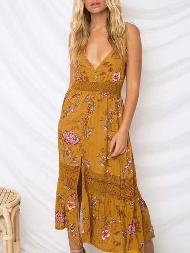 Floral Lace Split Hollow Bohemia Midi Dress
