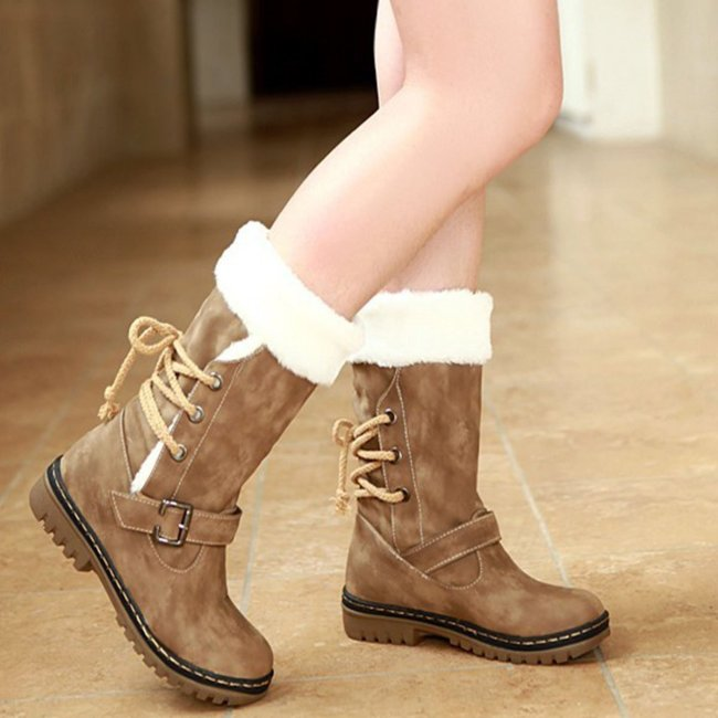 Plain Low Heeled Round Toe Date Woman Boots