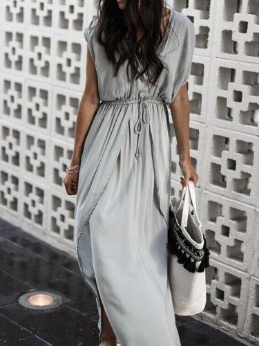 Gray Plunge Drawstring Waist Thigh Split Chic Women Maxi Dress