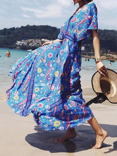 Pretty Floral V-neck V-back Maxi Dresses