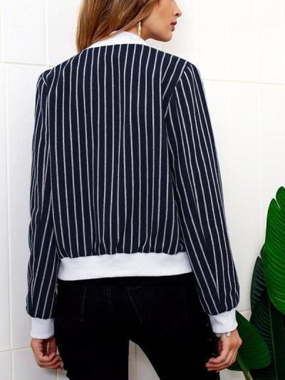 Autumn Stripe Zipper Baseball uniform Jackets