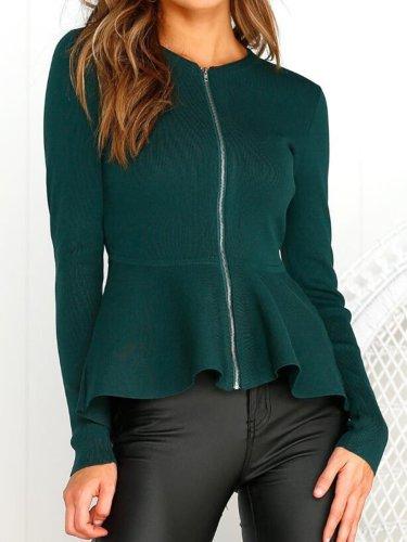 Round Collar Long Sleeve Zipper Short Coat For Women